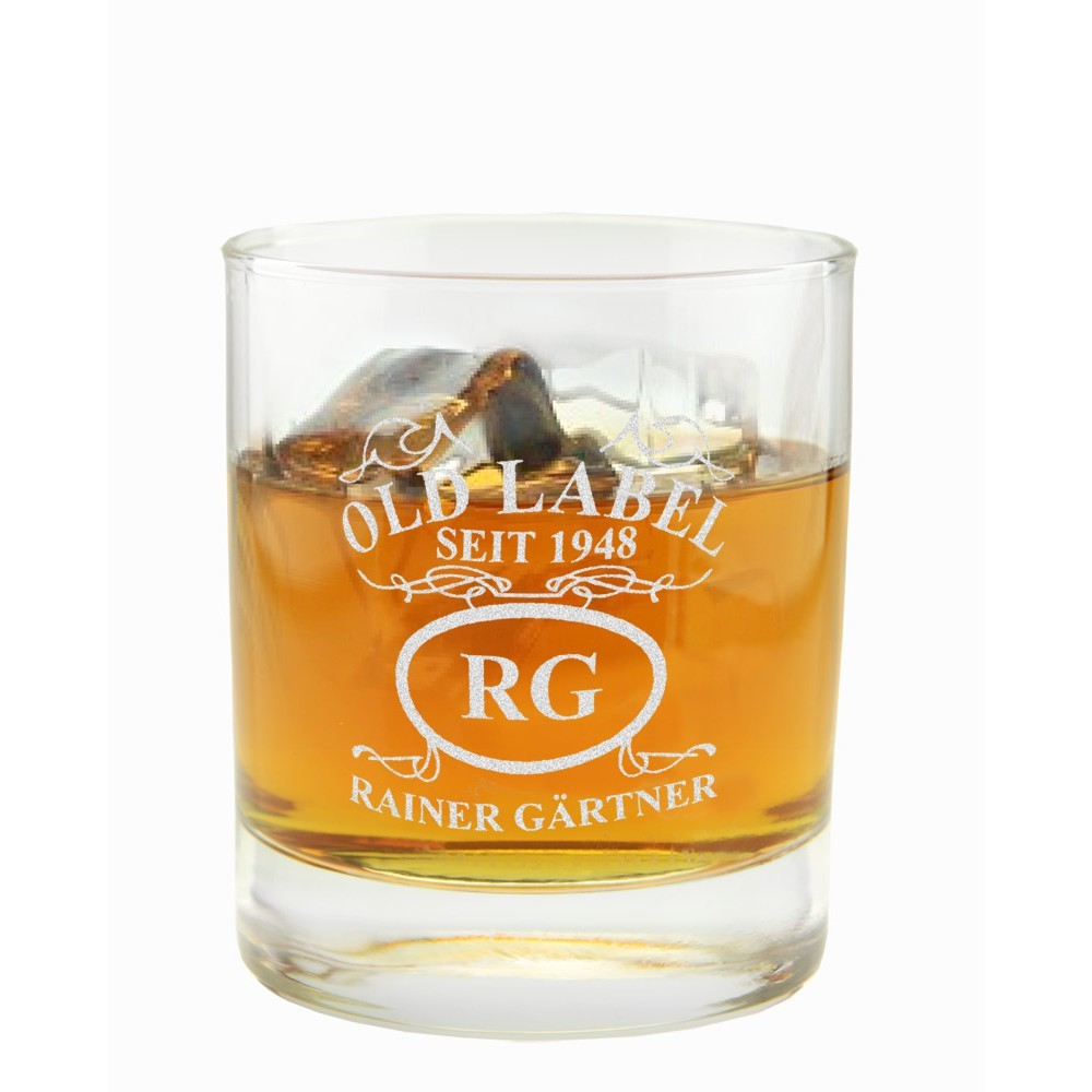whiskyglas mit gravur emblem old label. Black Bedroom Furniture Sets. Home Design Ideas