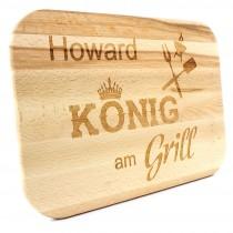 Holz Schneidebrett - Grillbrett - Modell: König am Grill