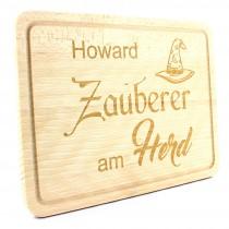 Holz Schneidebrett - Grillbrett - Modell: Zauberer am Herd