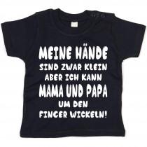 Kinder - Babyshirt Modell: Mama und Papa um den Finger wickeln