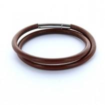 Gravur Lederarmband 0,5 cm rund mit Hebeldruckverschluss - 2-fach gewickelt