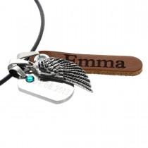 Geburtsschmuck Kette mit zwei Anhängern und Flügel-Applikation - Diamant/Lasergravur