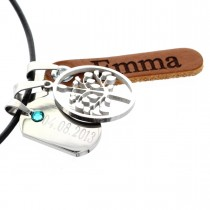 Geburtsschmuck Kette mit zwei Anhängern und Baum-Applikation - Diamant/Lasergravur