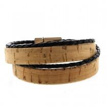 Korkarmband 1,5 cm mit schwarzer geflochtener Schnur und Magnetverschluss - 2-fach gewickelt