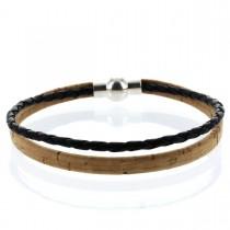 Korkarmband 0,5 cm mit schwarzer geflochtener Schnur und Kugel-Magnetverschluss