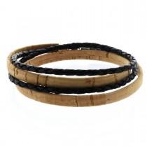 Korkarmband 0,5 cm mit schwarzer geflochtener Schnur und Kugel-Magnetverschluss - 2-fach gewickelt
