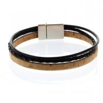 Korkarmband 1 cm mit zwei Schnüren und Magnetverschluss