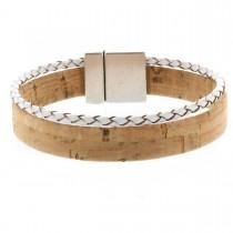 Korkarmband 1,5 cm mit weißer geflochtener Schnur und Magnetverschluss