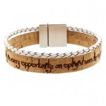 Gravur Korkarmband 1 cm mit weißer geflochtener Schnur und Magnetverschluss