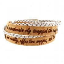 Gravur Korkarmband 1,5 cm mit weißer geflochtenen Schnur und Magnetverschluss - 2-fach gewickelt