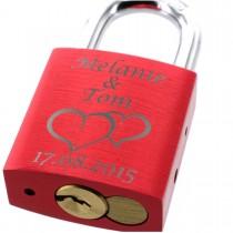 Liebesschloss mit Lasergravur - rot metallic