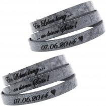 2er Set Partner Armband Leder 70 cm