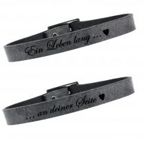 2er Set Partner Armband Leder 23 cm