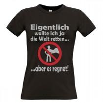 Damen T-Shirt Modell: Die Welt retten
