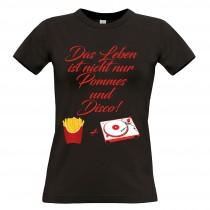 Damen T-Shirt Modell: Pommes und Disco