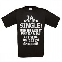 Herren T-Shirt Modell: Ja ich bin Single