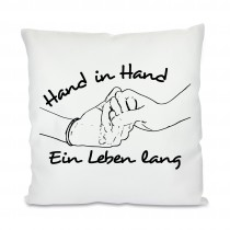 Kissen mit Motiv Modell: Hand in Hand