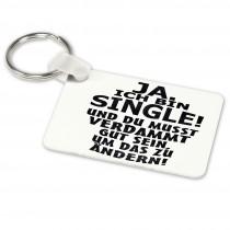 Alu-Schlüsselanhänger weiß - Modell: Ja ich bin Single