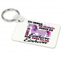 Alu-Schlüsselanhänger weiß - Modell: Sei immer du selbst
