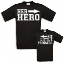 Familienshirts in schwarz für Vater, Mutter, Sohn und Tochter - Hero