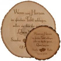 Baumscheibe - Hochzeit mit Personalisierung