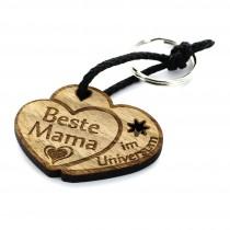 Gravur Schlüsselanhänger aus Holz - Modell: Beste Mama im Universum