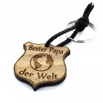 Gravur Schlüsselanhänger aus Holz - Modell: Bester Papa Abzeichen