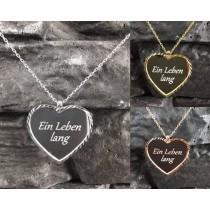 925 Silber Halskette / Herzkette mit Wunschgravur