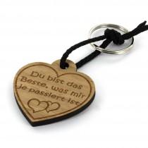 Gravur Schlüsselanhänger aus Holz - Modell: Du bist das Beste