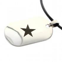 Edelstahl Dog Tag Anhänger - Black Star - mit Lasergravur