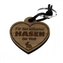 Gravur Schlüsselanhänger aus Holz zu Ostern - Für den süßesten Hasen der Welt
