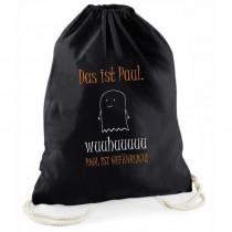 """Halloween schwarzer Süßigkeitenbeutel """"Das ist NAME. Wuuhuuuuuu NAME ist gefährlich!"""" personalisiert"""