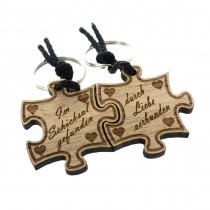 Gravur Partner Set Schlüsselanhänger aus Holz - Modell: Im Schicksal gefunden - durch Liebe verbunden