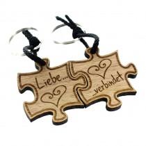 Gravur Partner Set Schlüsselanhänger aus Holz - Modell: Liebe verbindet