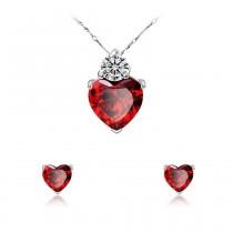 Schmuckset / Halskette und Ohrringe - rubinrotes Herz