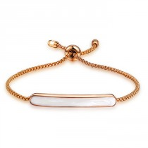 Damenarmband mit Perlmutt Applikation - gold