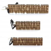 Holz Schlüsselanhänger mit Ihrem Wunschnamen