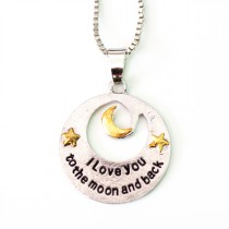 Halskette silberfarben - I love you to the Moon and back