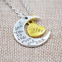Halskette mit Anhänger - I love you to the moon and back - Auswahl