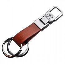 Edelstahl - Leder Schlüsselanhänger mit Lasergravur