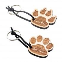 Lieblingsmensch Gravur Schlüsselanhänger aus Holz - Katzen- oder Hundepfote