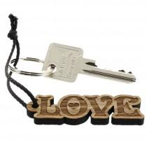 Gravur Schlüsselanhänger aus Holz - Modell: Love