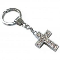 Edelstahl Schlüsselanhänger - Kreuz - mit Diamantgravur