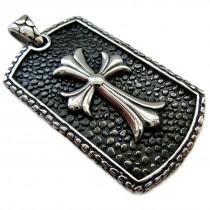 Edelstahl Anhänger - silber Kreuz - mit Diamantgravur