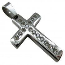 Edelstahl Strass Kreuz Anhänger mit Diamantgravur