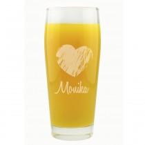 Saftglas / Trinkglas mit Herz und Namen