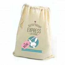 """Geschenkbeutel Zuziehbeutel """"Osterhasen Express"""" mit Personalisierung"""