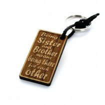 Gravur Schlüsselanhänger aus Holz Modell: Sister & Brother