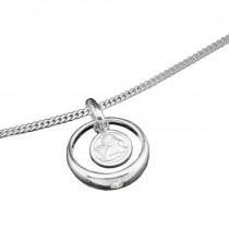 Taufring Silber mit Schutzengel und Zirkonia-Stein