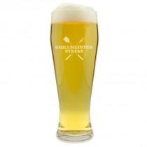 Grillmeister Weizenbierglas mit Namen